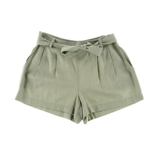 BCX Womens Juniors Linen Double Pleat Casual Shorts - M