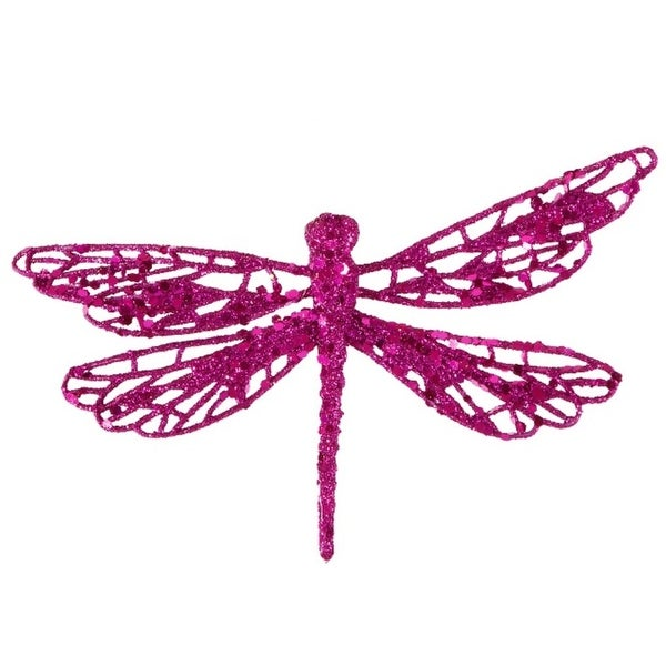 """6"""" Fuchsia Pink Glittered Dragonfly Clip-On Christmas Ornament"""