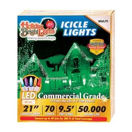 Holiday Bright Lights LEDBX-M8IC70-MU Christmas Commercial M8 LED Icicle Light, Multicolored