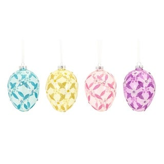 Pack of 24 Floral and Diamond Pattern Egg Holiday Hanging Ornaments 4""