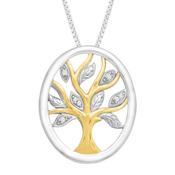 Tree of Love Oval Pendant with Diamonds in Sterling Silver & 14K Gold