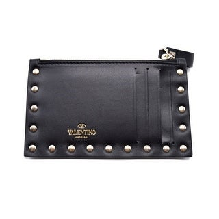 Valentino Womens Rockstud Black Leather Cardholder - S