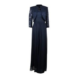 R&M Richards Women's 2PC Lace & Chiffon Empire Waist Dress Set