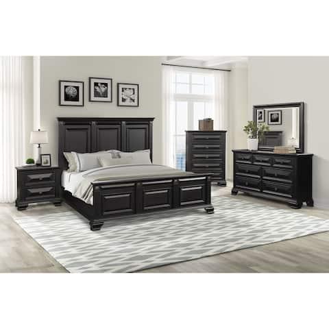 Renova Vintage Black Wood Panel Bedroom Set