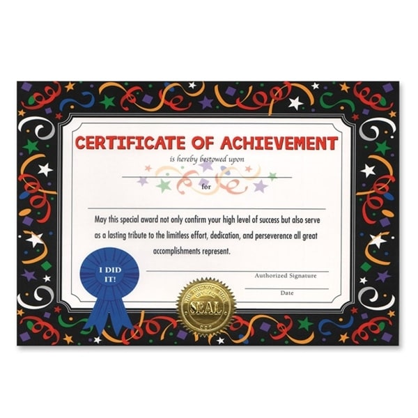 pack of 6 blue ribbon certificate of achievement certificates