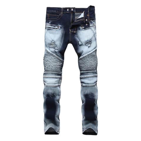 Men Jeans Ripped Slim Fit Tapered Leg Casual Pants - AS Shown