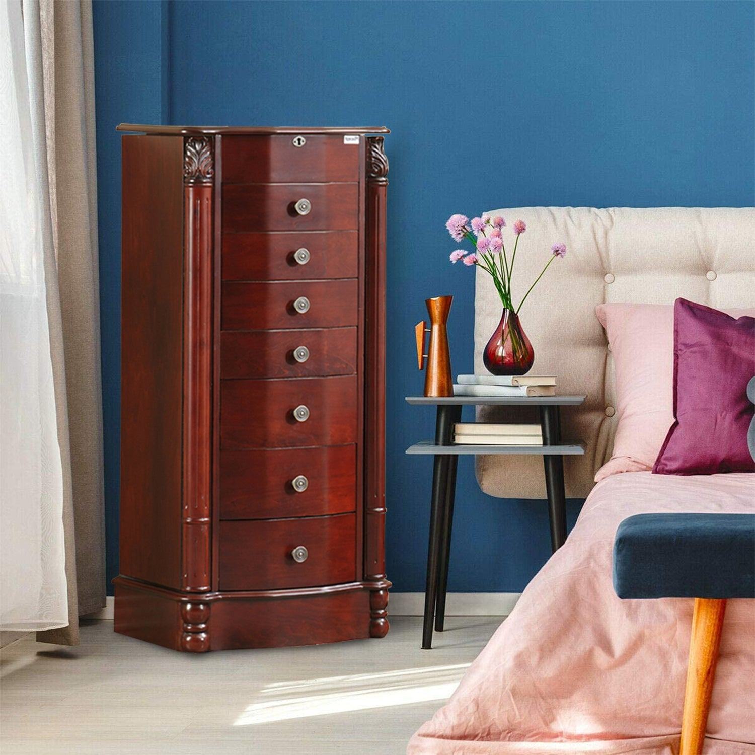 Image of: Shop Free Standing Jewelry Armoire With Mirror Cherry Overstock 31243640