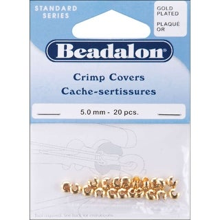 Gold-Plated Crimp Covers-5mm 20/Pkg - GOLD