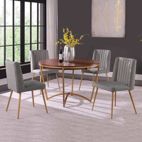Morden Fort Round Dining Table Set for 4 Velvet Upholstered Chair with Classic Traditional Luxury Style