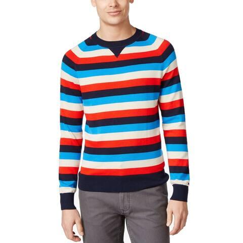 Tommy Hilfiger Striped Crew-Neck Sweater (Navy Blazer, L)
