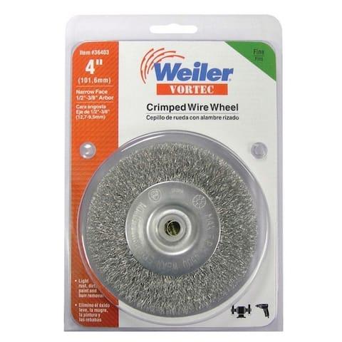 """Weiler 36403 Vortec Fine Crimped Wire Wheel Brush, 4500 rpm, 4"""""""
