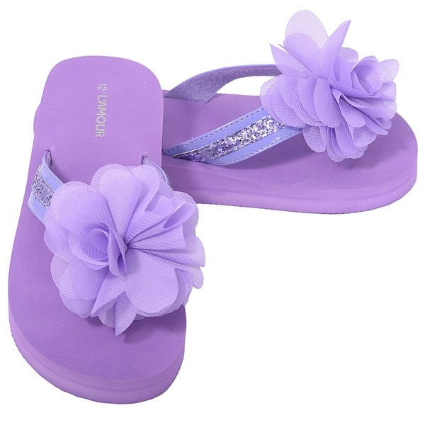 39ebceeeb7924 L  x27 Amour Purple Sequin Strap Flower Flip Flop Sandals Little Girls ...