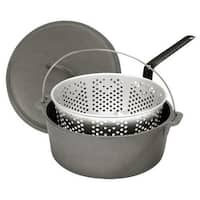 Bayou Classic 7460 8.5 Quart Cast Iron Dutch Oven and Basket - PEWTER