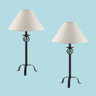 2 Black Wrought Iron Table Lamp 28 H