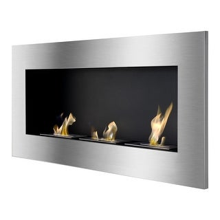 Ignis WMF-013 Optimum Wall Mounted / Recessed Ventless Ethanol Fireplace - black, stainless steel
