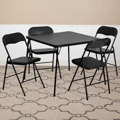 """5 Piece Folding Card Table and Chair Set with Upholstered Table Top - 33.5""""W x 33.5""""D x 27.75""""H"""