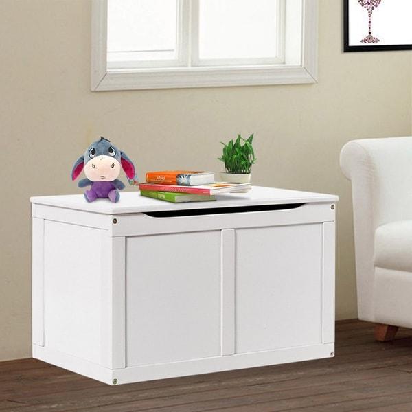 Costway White Wooden Kids Toy Storage Box Chest Organizer Large Bin Boys  U0026amp; ...