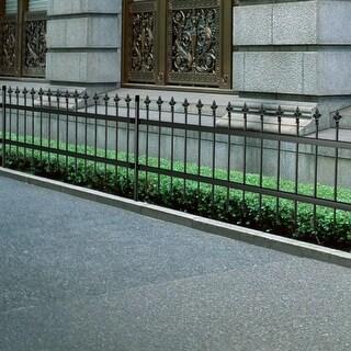 vidaXL Ornamental Security Palisade Fence Steel Black Pointed Top 2'