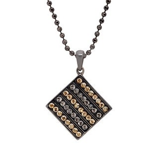 Crystaluxe Tile Pendant with Golden Shadow & Satin Swarovski Crystals in Sterling Silver - Yellow