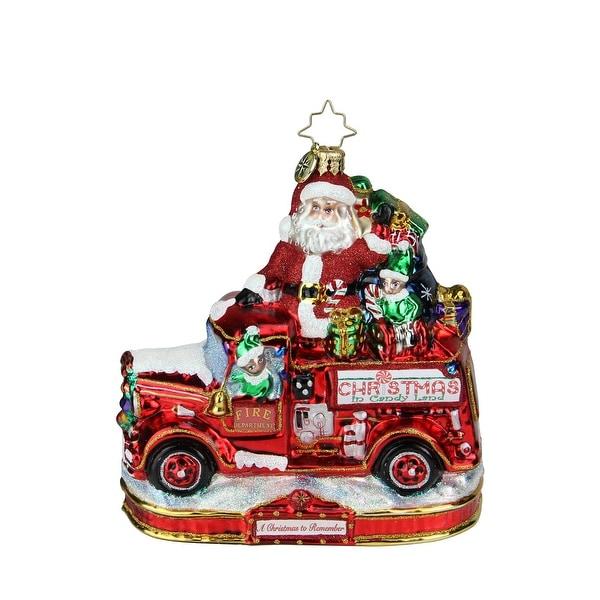 "6"" Christopher Radko ""Festive Fire Truck Fun"" Glass Christmas Tree Ornament #1019595 - RED"