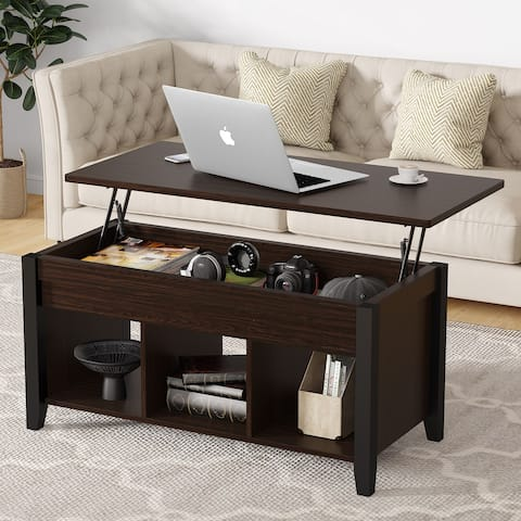 Lift Top Coffee Table with Hidden Storage Compartment and Shelf