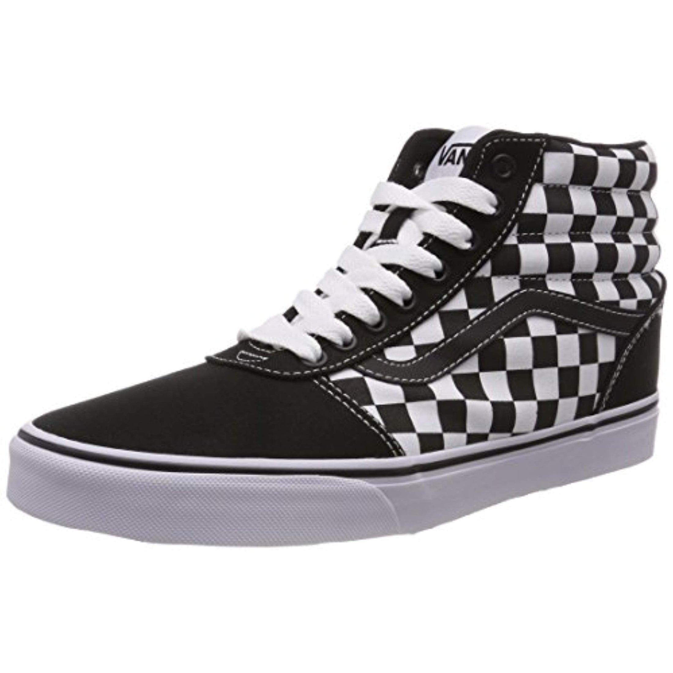 mens high top checkered vans