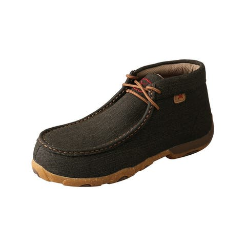 Twisted X Work Shoes Womens Leather Lace Up Boat Brown
