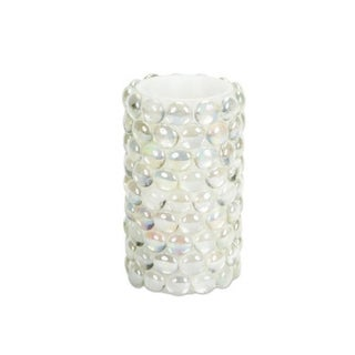 "6"" White Beaded LED Lighted Battery Operated Flameless Pillar Candle - Amber Flicker Flame - N/A"
