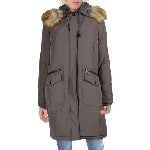 French Connection Women's Down Fill Mid-Length Parka with Faux Fur Trim Hood