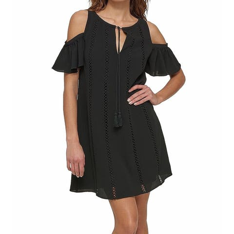 Kensie Women's Shift Dress Deep Black Size 6 Cold Shoulder Tie-Neck