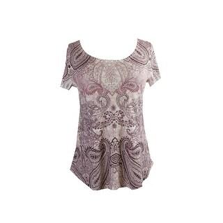 Style & Co. Wine Short-Sleeve Printed Studded Shirttail-Hem T-Shirt S