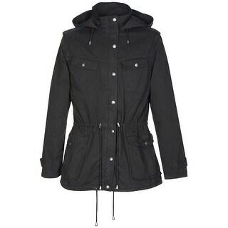 Buffalo by David Bitton Anorak Jacket for Women Large Black Hoodie Ladies