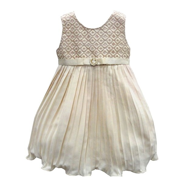 Baby Girls Beige Textured Bodice Broach Pleated Special Occasion Dress 6-24M