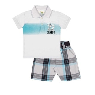 Baby Boy Outfit Infant Polo Shirt and Plaid Shorts Set Pulla Bulla 3-12 Months
