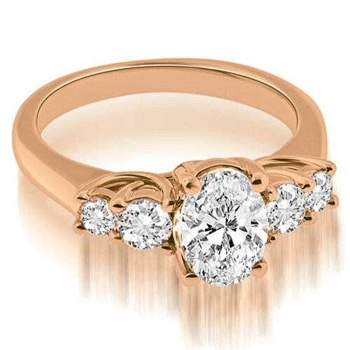 1.50 cttw. 14K Rose Gold Trellis Oval and Round cut Diamond Engagement Ring