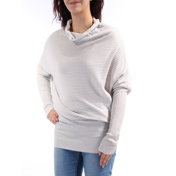 a63886706542 Shop KIIND OF Womens Silver Long Sleeve Cowl Neck Sweater Size  M ...