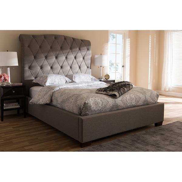 324b0d08078c Shop Victoire Light Grey Fabric Upholstered Platform Bed (Queen ...