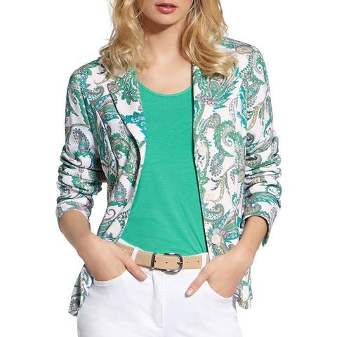 Basler Womens Blazer Paisley Print Three-Button - White/Green Multi