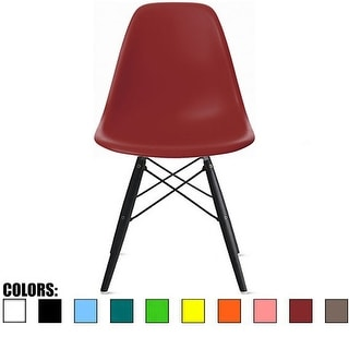 2xhome Red - Eames Style Bedroom & Dining Room Side Ray Chair with Eiffel Dark Wood Dowel Legs