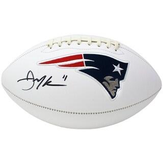 As Is Julian Edelman Signed New England Patriots Logo Football JSA