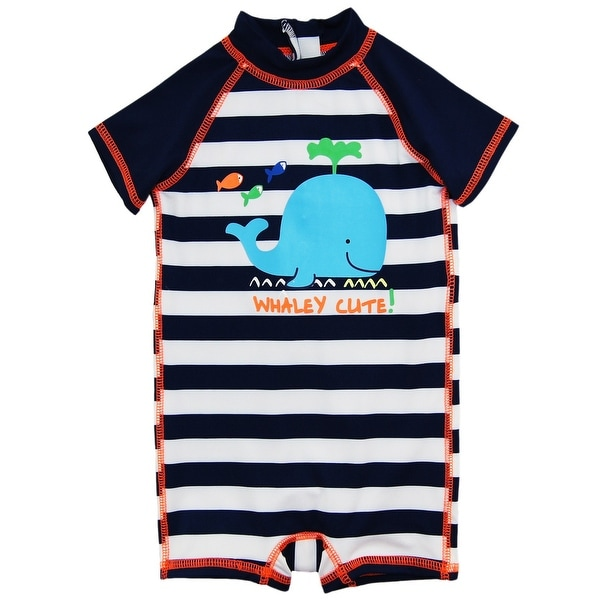 1debac48a1 Shop Wippette Baby Boys Swimwear Navy Stripes Cute Whale 1-Piece Rashguard  Swimsuit - Free Shipping On Orders Over $45 - Overstock - 18189833