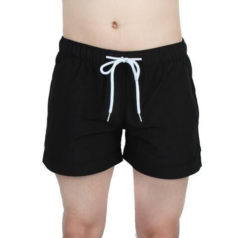 a55ebc25e2 Unique Bargains Chetstyle Authorized Men Polyester Fiber Breathable Swim  Trunk Black W28
