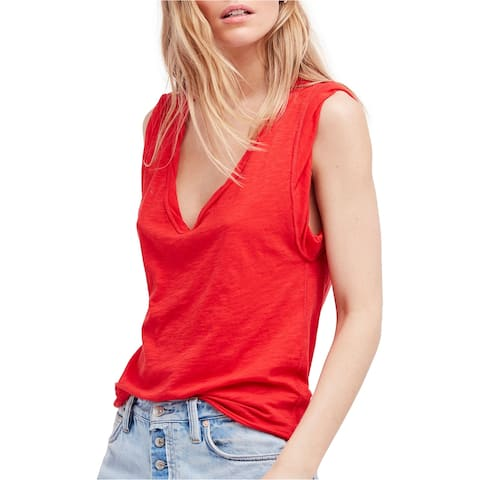 Free People Womens Cleo Basic T-Shirt, Red, Medium