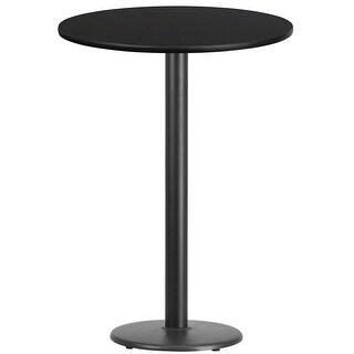 "Dyersburg 30'' Round Black Laminate Table Top w/42"" High Round Base"