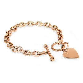 Stainless Steel Rose Gold Plated Heart Tag Bracelet - 7.5 inches