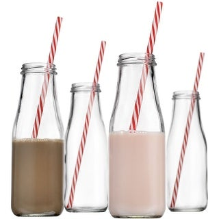 Palais Glassware High Quality Milk Bottles with Red & White Swirl Straws Set of 4, 16 Ounce.