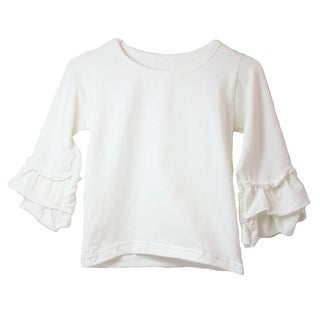 Girls Ivory Double Tier Ruffle Sleeved Cotton Spandex Top 12M-6
