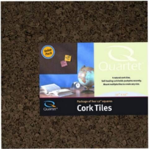 """Dark Cork Tile 12"""" x 12"""" 4 Pack"""