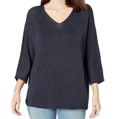 Nic + Zoe Blue Womens Size Large L V-Neck 3/4 Sleeve Knit Top