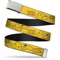 Blank Chrome  Buckle Pikachu Attack Poses Pika Chu! Yellow Black Web Belt - S
